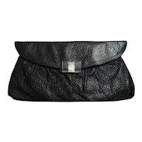 Vintage 1940s Black Leather Clutch | Lucite Clasp | 40s Purse