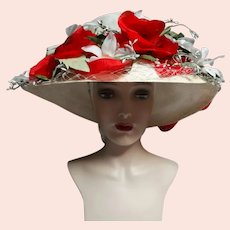 Vintage 1950s Hat / Red & White / Floral / Tags Attached / 50s Floral Hat / NOS