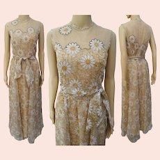 "Vintage 1960s Dress | Floral Chiffon Dress | Illusion Neckline | 60s Chiffon Gown | Designer Lilli Diamond W-27"""
