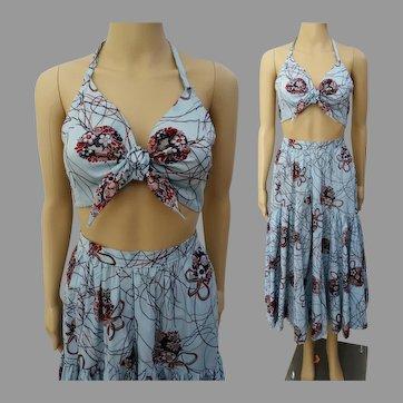 1960s Skirt // California Originals by Kathryn // Matching Halter Top // 60s Skirt Matching Halter Top Small