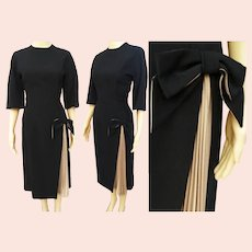 Vintage 1940s Dress | Black | Designer Mancini of California | Beige Front Pleat | B-38""