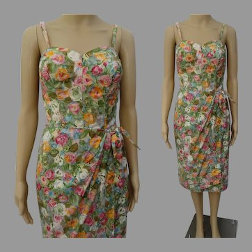 Vintage 1950s Dress | 50s Alix of Miami Pastel Floral Sarong Evening Party Gown Small Panties