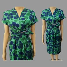 Vintage 1950s Dress | Blue & Green | Designer Henry Lee | NOS | Tags Attached | 50s Designer Dress W-29""