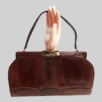 Vintage 50s Brown Lizard Purse / 1950s Handbag / Scalloped Bottom / Designer