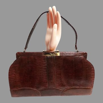 Vintage 50s Brown Lizard Purse / 1950s Handbag / Scalloped Bottom / Designer