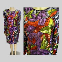 """1970s Show Stopper Stained Glass Sequin Dress / Embellished with Sequins / """"SWELLO"""" / 70s Sequin Dress"""