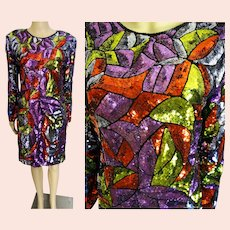 "1970s Show Stopper Stained Glass Sequin Dress / Embellished with Sequins / ""SWELLO"" / 70s Sequin Dress"