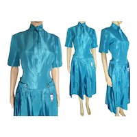 "1940s Dress | ""Bonny-Lee"" | Tags Attached | Aqua | Waist 30"""