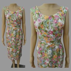 Vintage 1950s Dress | Floral Dress | Designer Alix of Miami | 50s Dress W-30""