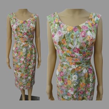 "Vintage 1950s Dress | Floral Dress | Designer Alix of Miami | 50s Dress W-30"""