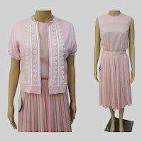 "Vintage 1950s Dress | Matching Sweater | Pink | NOS | Designer 50s Dress Waist 26"""