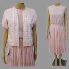 Vintage 1950s Dress | Matching Sweater | Pink | NOS | Designer 50s Dress Waist 26""