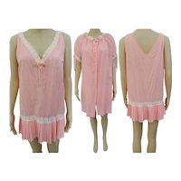 Vintage 1950s Peignoir Set   Gown   Matching Robe   Swiss Dots   Miss Elaine   Size M