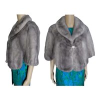 Silver Mink Fur Stole   Blue Iris Mink   Kronenfeld Furs   Size S to Small M