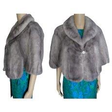 Silver Mink Fur Stole | Blue Iris Mink | Kronenfeld Furs | Size S to Small M