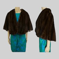 Dark Brown Mink Stole | 60s Mink Cape | Brown Mink Stole | Flemington Furs| 1960s Mink Stole | Mink cape | Size M to L