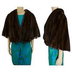 Dark Brown Mink Stole | 60s Mink Cape | Brown Mink Stole | Flemington Furs| 1960s Mink Stole | Mink cape | Size M to L
