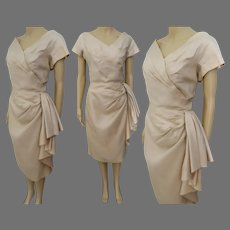 Vintage 1950s Dress | 50s Sarong Dress | Pinkish Beige | Cocktail Party | Bust