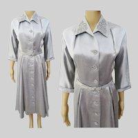 "Vintage 1940s Dress | Silver Gray | Leslie Fay Original | 40s Dress | Pearls Rhinestones | B-42"""