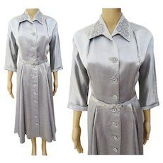 Vintage 1940s Dress | Silver Gray | Leslie Fay Original | 40s Dress | Pearls Rhinestones | B-42""