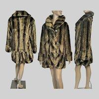 """Mid Length IMAN Coat / Designer Faux Fur Coat / Brown / Never Worn / B-44"""" /"""