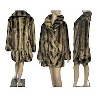 "Mid Length IMAN Coat / Designer Faux Fur Coat / Brown / Never Worn / B-44"" /"