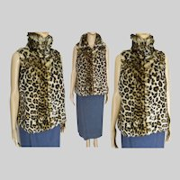 Leopard Faux Fur Vest | Sleeveless Leopard Jacket | Vintage 70s Vest | Small Medium