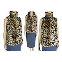Leopard Faux Fur Vest   Sleeveless Leopard Jacket   Vintage 70s Vest   Small Medium