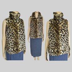 Leopard Faux Fur Vest | Sleeveless Leopard Jacket | Vintage 70s Vest | Small Medium