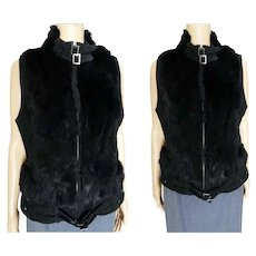 Vintage Vest Black Suede Leather Vest with Buckles and Studs Zipper front B-36""