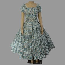 "Vintage 1950s Dress / Bias cut / Novelty Print / 50s Full Circle Skirt / B-38"""