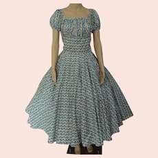 Vintage 1950s Dress / Bias cut / Novelty Print / 50s Full Circle Skirt / B-38""