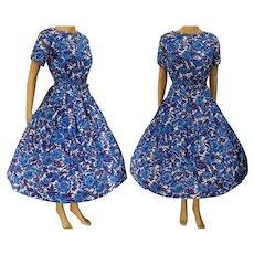 "Vintage 1950s Dress | Mode O'Day | Dark Blue | Purple | Full Dress | 50s Dress | Loop Fringe | B-38"""
