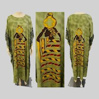 Vintage Kaftan dress | Ethnic Figural Woman Front & Back | Maxi Dress | Large to 2X | Swimsuit Cover