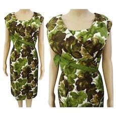 """Vintage 1950s Dress / Alix of Miami / 50s Designer Dress / Floral Wiggle Dress / B-36"""""""
