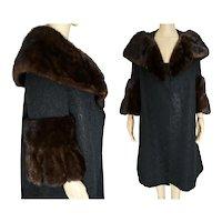 1950s Coat / Real Mink fur Trim / 50s Swing Coat / Rothmoor / Mid Century Fur Collar Coat / Retro Fur Dress Coat