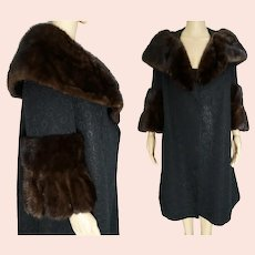1950s Coat / Real Mink fur Trim / 50s Swing Coat / Rothmoor / Mid Century Fur Collar Coat / Retro Fur Dress Coat