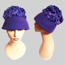 1950s Hat / Vintage 50s Purple Hat / Eva Mae Modes / Purple petals