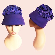 1950s Hat / Vintage 50s Purple Hat / Eva Mae Modes / Purple petals