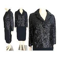 Vintage 1960s Suit / Black Sequin Jacket / Triple Breasted / Black Skirt has side Sequins / 100% Virgin Wool