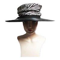 Vintage 1950s Hat / Black / Dana Original / Iconic Large Brim Hat /