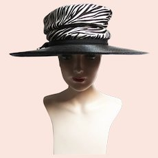 Vintage 1950s Hat / Black / Dana Original / Iconic Large Brim Hat /