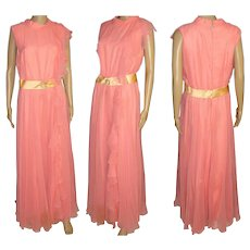 Vintage 1960s Dress   .  Vintage 1960s Jumpsuit  .  60s Palazzo One Piece  .  Pink Coral Chiffon