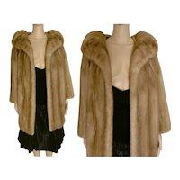 "Glamorous Real Honey Blonde Mink Fur Coat Made of Premium Mink Fur Pelts Bust 42"""
