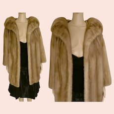 Glamorous Real Honey Blonde Mink Fur Coat Made of Premium Mink Fur Pelts Bust 42""
