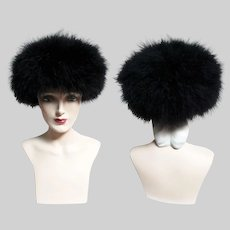Vintage 1960s Black Marabou Feather Hat
