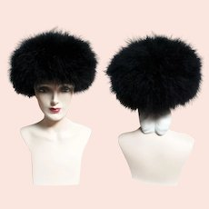Vintage 1960s Black Marabou Feather Hat