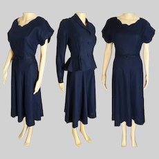 1940s Dress - Vintage 40s Dress - Navy Blue Fitted Peplum Jacket - Dress Matching Jacket