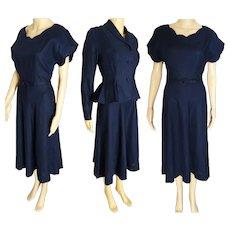 1940s Dress - Vintage 40s Dress - Navy Blue Fitted Peplum Jacket - Dress Matching Jacket