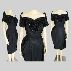 Vintage 1940s Dress | 40s Black Dress Soutache & Rhinestones | Off Shoulder Sleeves | Wiggle Cocktail Dress